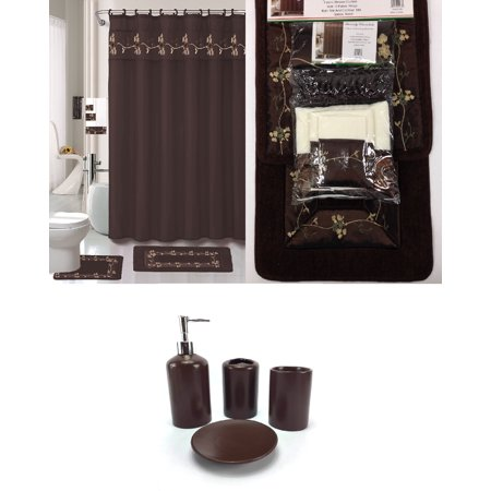 chocolate brown bathroom accessories. 22 Piece Bath Accessory Set BEVERLY Chocolate Brown Bathroom Rug  Shower Curtain Accessories