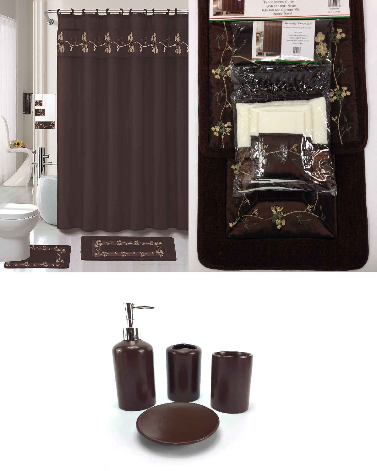 Superior 22 Piece Bath Accessory Set BEVERLY Chocolate Brown Bathroom Rug Set +  Shower Curtain U0026 Accessories