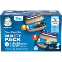 (Pack of 12) Gerber Puree Favorites Variety Pack, Chicken and Gravy, Turkey and Gravy, 2.5 oz Jars