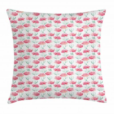 Mint Green And Pink (Watercolor Flowers Throw Pillow Cushion Cover, Fresh Blooms in Blurry Tones Paintbrush Soft Flowering Field, Decorative Square Accent Pillow Case, 18 X 18 Inches, Pink and Mint Green, by)