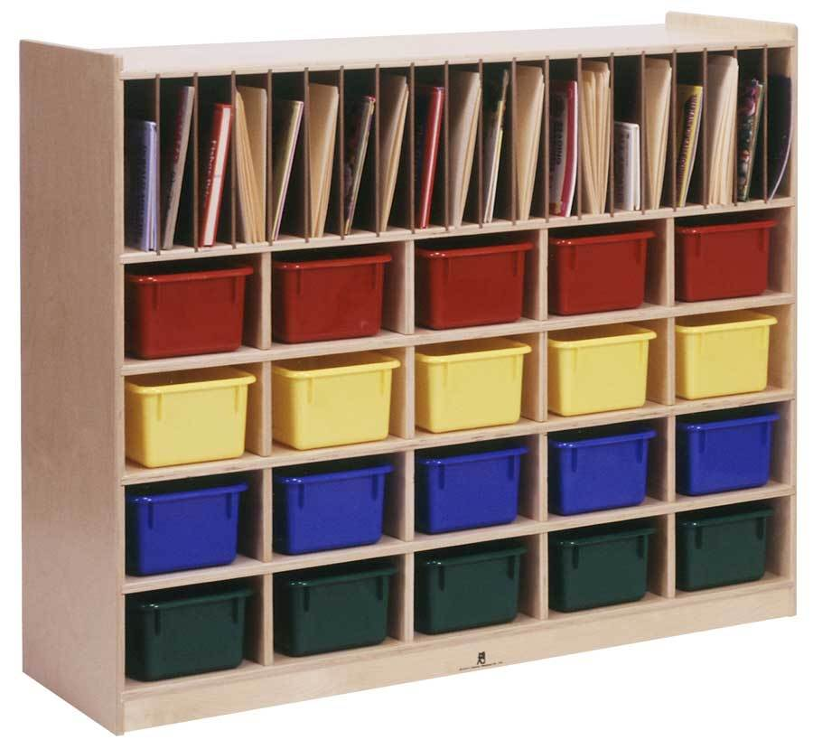 20-Cubicle Storage Center w Paper Racks in Natural Finish (With Colored Trays)