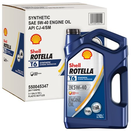 (6 Pack) Shell Rotella T6 5W-40 Full Synthetic Heavy Duty Diesel Engine Oil, 1 gal (Best Cummins Diesel Engine)