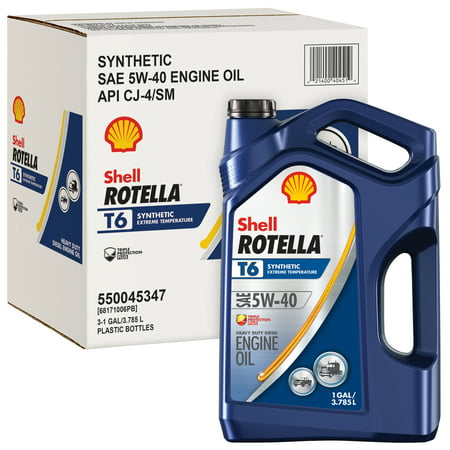 (6 Pack) Shell Rotella T6 5W-40 Full Synthetic Heavy Duty Diesel Engine Oil, 1 gal