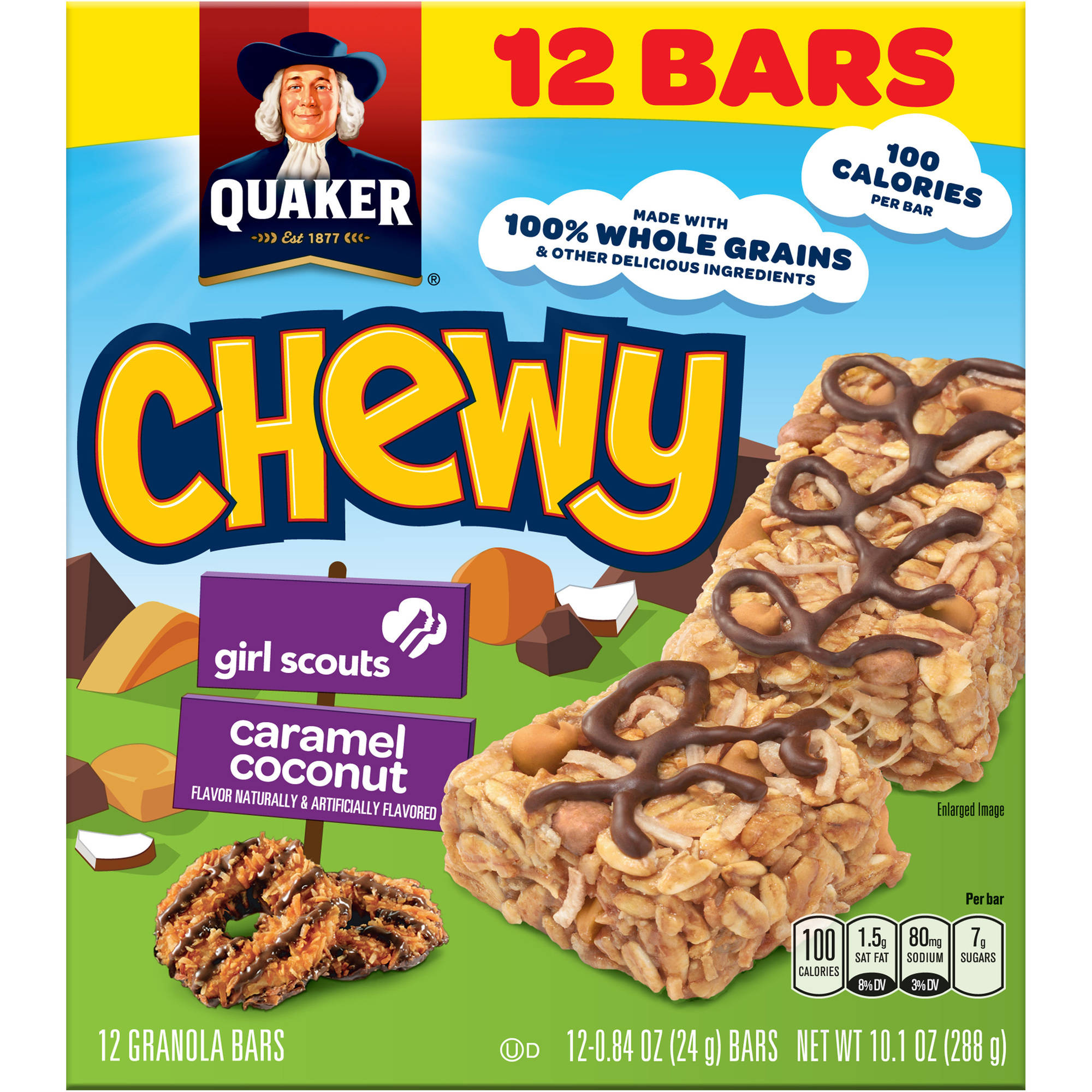 Quaker Chewy Girl Scouts Caramel Coconut Granola Bars, .84 oz, 12 count