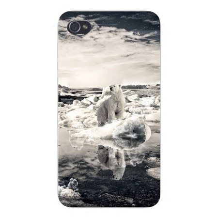 Ht Enterprises Polar Ice (Apple Iphone Custom Case 4 4s Snap on - Sad Polar Bear on Ice Floating in Water Global Warming Climate Change)