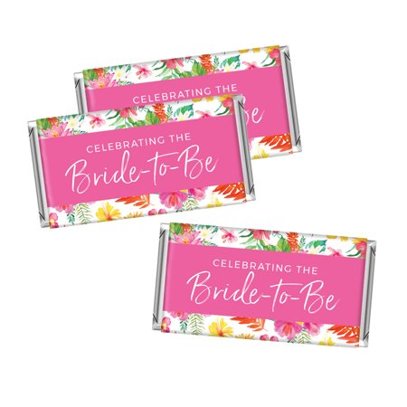 - Tropical Floral Garden Party Wedding, Hershey Bar Labels, A Sweet Celebration, 10-pack