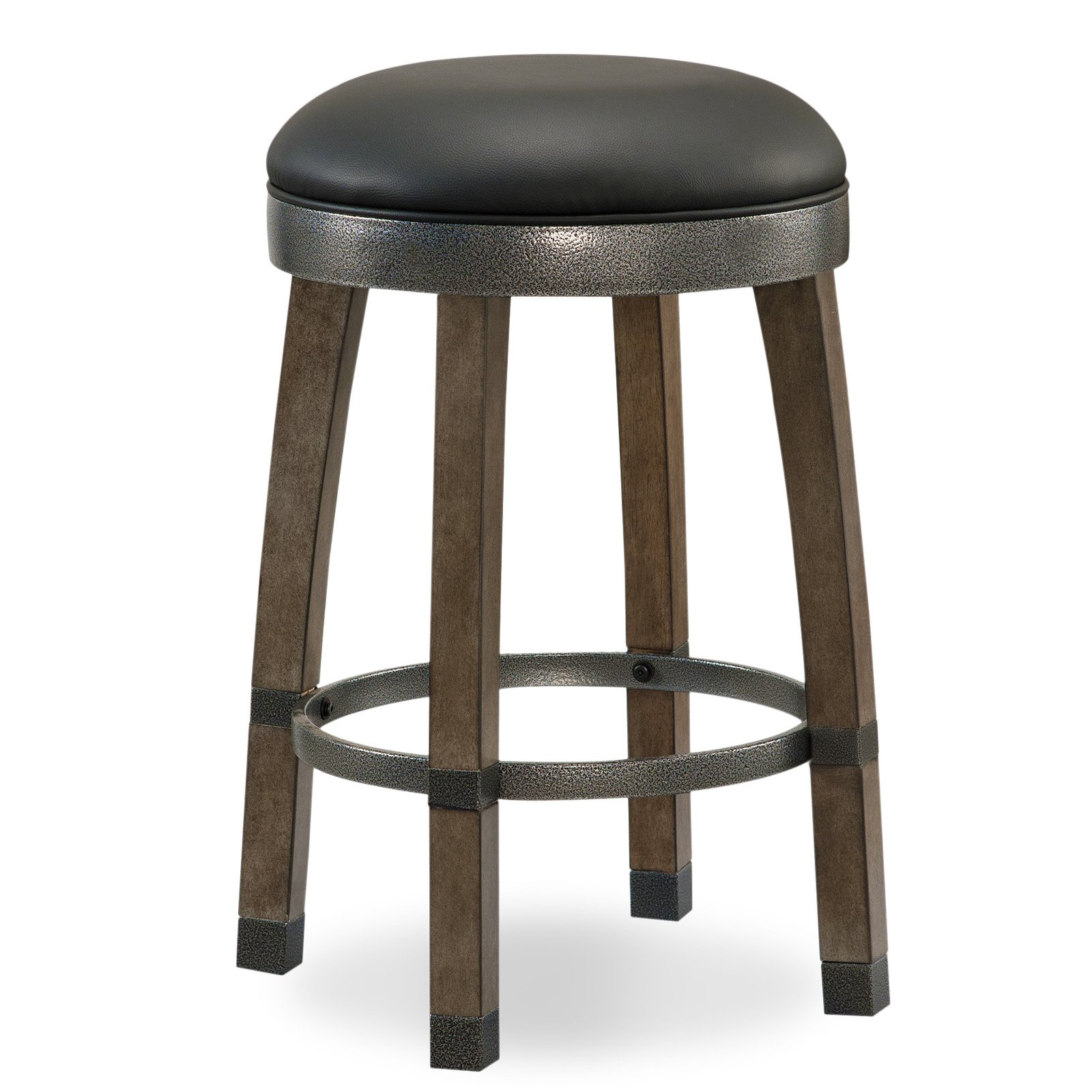 Leick Home 10118SN SB Wood Cask Stave Counter Height Stool with Faux Leather Seat, Set of 2, Multiple Colors by Leick Furniture
