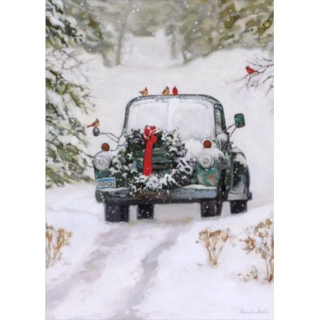 LPG Greetings Pickup Truck with Wreath: Bonnie Mohr Country Christmas Card ()