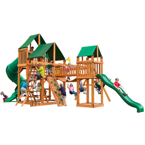 Gorilla Playsets Treasure Trove Swing Set with Amber Posts and Deluxe Green Vinyl Canopy
