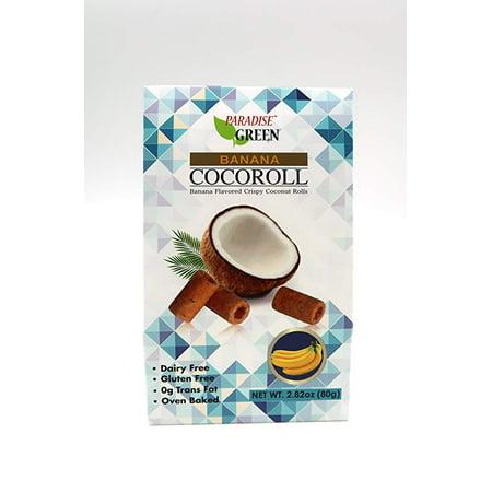 Paradise Green Oven Baked Crispy Coconut Rolls 1 Pack, 2.82oz (Banana) (Fresh Baked Bread)