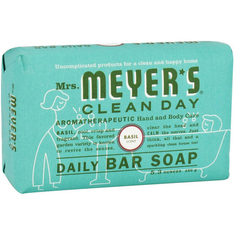 Mrs. Meyers Clean Day Daily Bar Soap Basil, 5.3 OZ (Pack of 12)