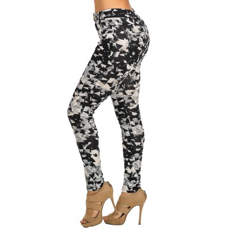 Womens Juniors Women Black Mid Rise One Button All Over Printed Slim Fit Skinny Leggings 10221B