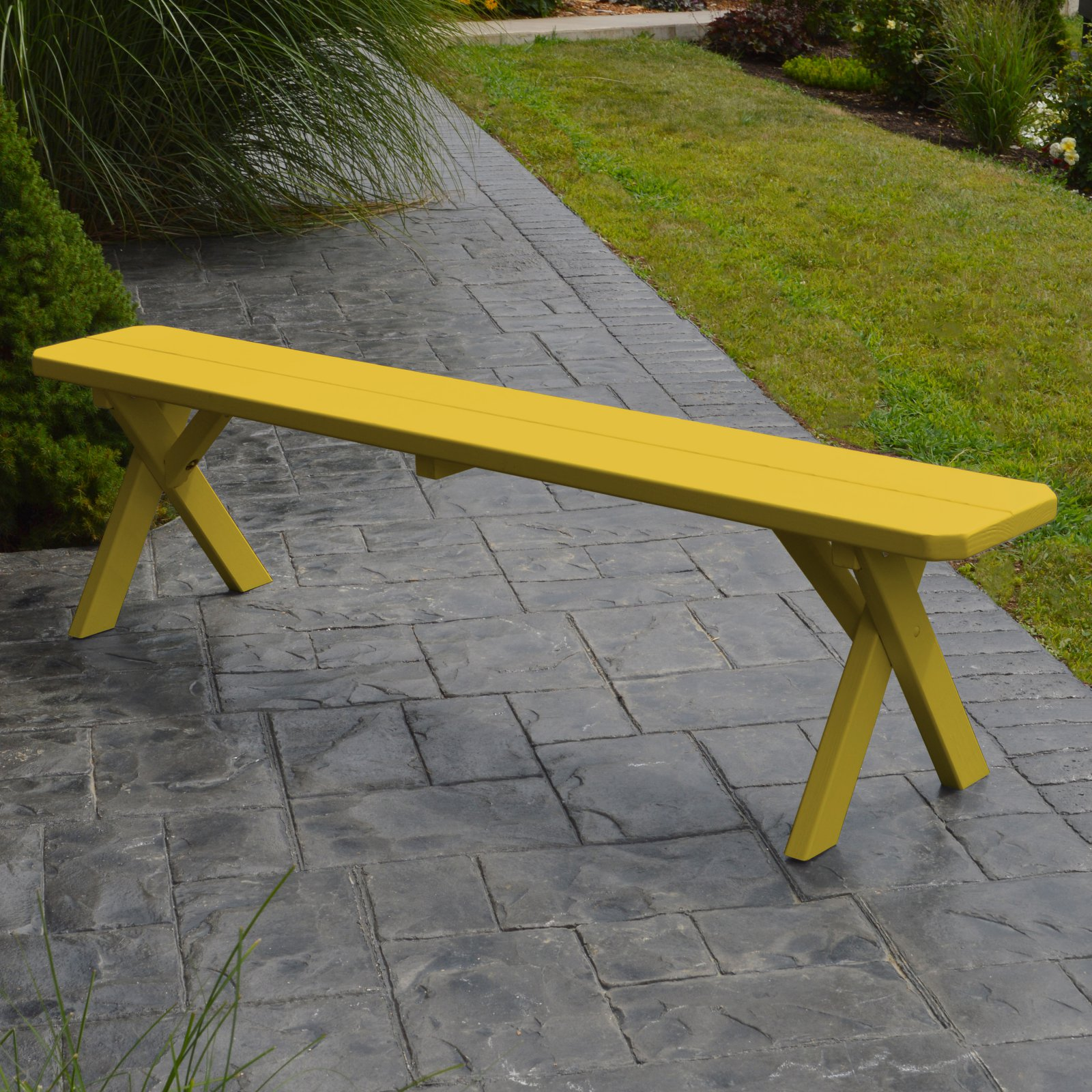 A & L Furniture Yellow Pine Cross Legged Picnic Table with 2 Benches by A and L Furniture Co