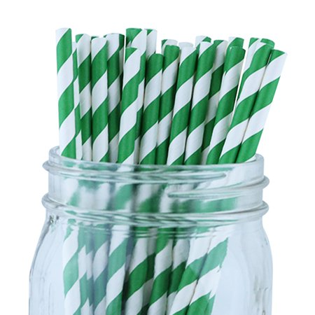 Green Striped Paper Straws (Just Artifacts Decorative Striped Paper Straws (100pcs, Striped, Forest)