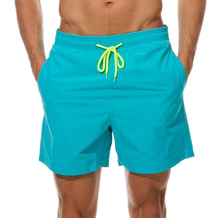 Men's Short Swim Trunks Best Board Shorts for Sports Running Swimming Beach Surfing Quick Dry Breathable Mesh Lining (Sky Blue, US M (Fit Waist.., By