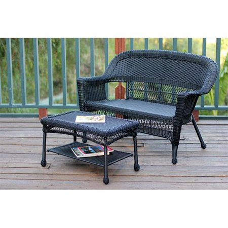 Jeco Wicker Patio Love Seat And Coffee Table Set Without Cushion