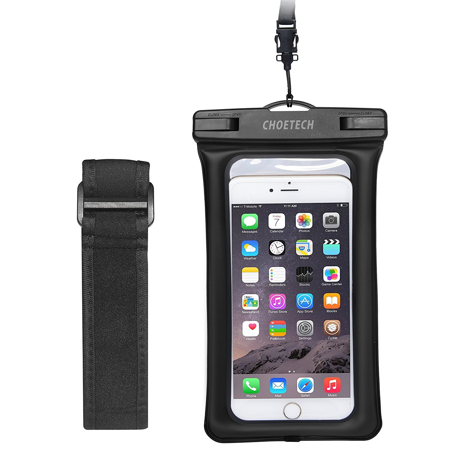 Floating Waterproof Case, Clear Transparent Cellphone Waterproof, Dustproof Dry Bag With Armband & Neck Strap for iPhone 7, 7 Plus, 6, 6s, and All Devices Up to 6 Inches
