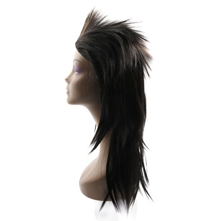 """Black 21.3"""" Long Synthetic Rocking Punks Hairstyle Costume Cosplay Party Wigs w/ Wig Cap - image 2 de 5"""