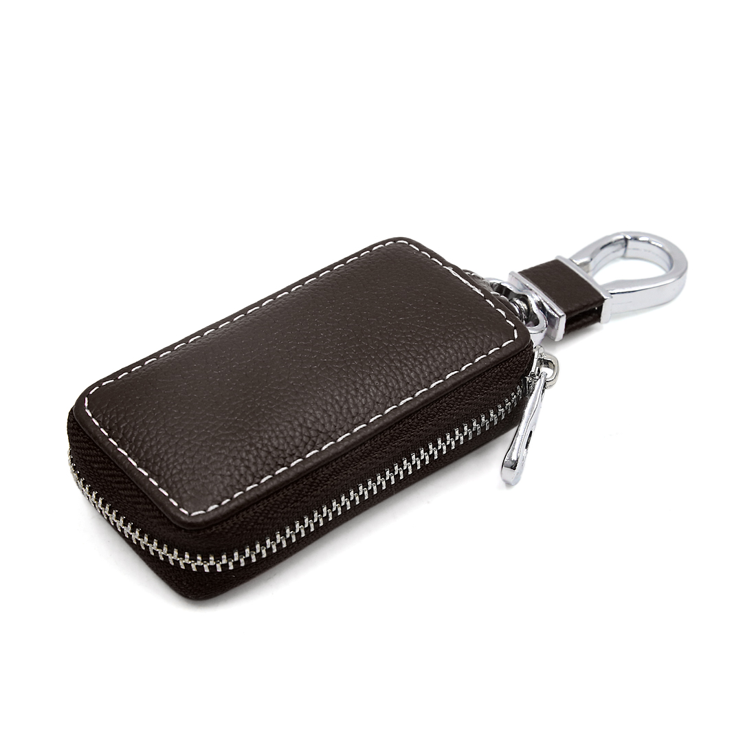 Deep Brown Faux Leather Rectangle Chain Holder Zipper Bag for Car Remote Key - image 3 of 3