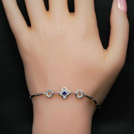Sapphire Bag - Four Leaf Clover Design .50 Carat Round Cut Diamond and Sapphire Bar Link Bracelet in 18k Gold Over Silver