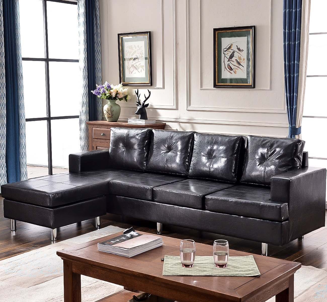 Harper & Bright Designs Sectional Sofa Set with Reversible Chaise
