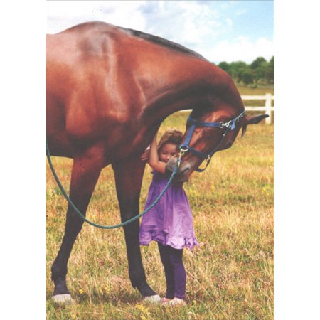 Avanti Press Young Girl Hugging Horse Deluxe Matte Blank Note Card