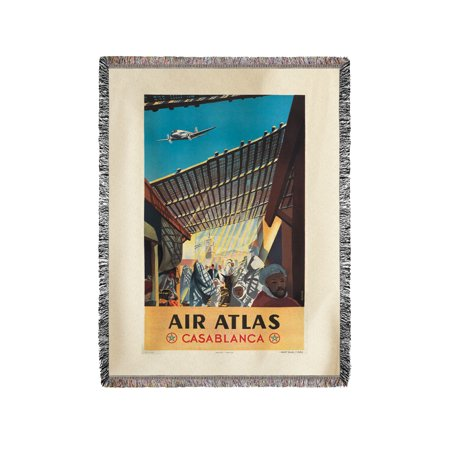 Air Atlas   Casablanca Vintage Poster  Artist  Anonymous  France C  1953  60X80 Woven Chenille Yarn Blanket
