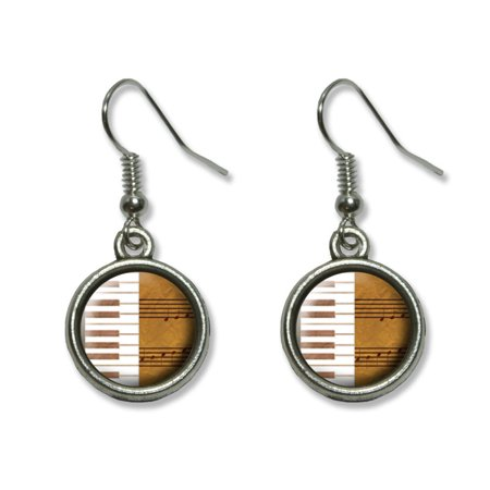 Piano Keys and Scales Gold - Music Notes Sheet Music Dangling Drop Earrings