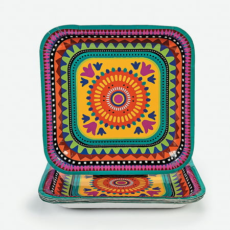 Fun Express - Fiesta Square Dinner Plate for Cinco de Mayo - Party Supplies - Print Tableware - Print Plates & Bowls - Cinco de Mayo - 8 Pieces](Fiesta Plates)