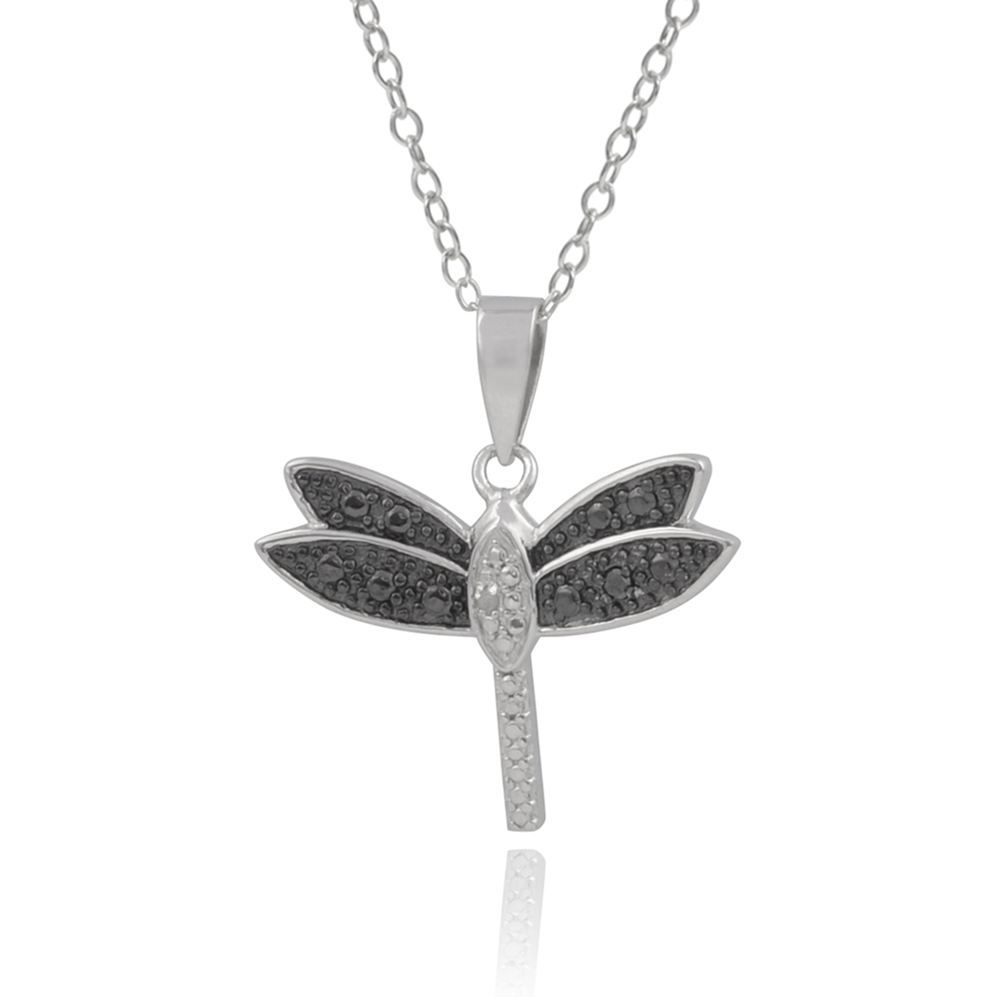 Brinley Co. Women's 1/5 Carat T.W. Diamond Sterling Silver Dragonfly Pendant Fashion Necklace, Black