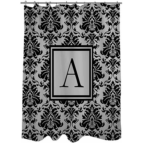 Thumbprintz Damask Monogram Black and Grey Shower Curtain