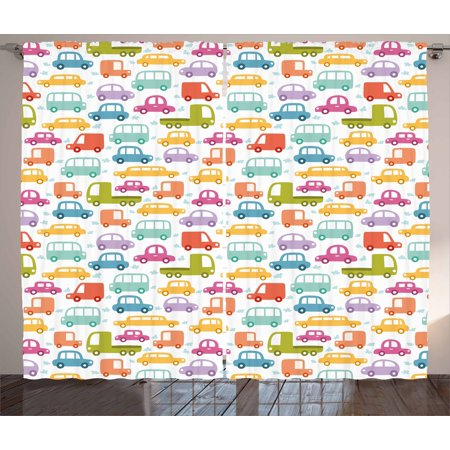 Cars Curtains 2 Panels Set, Lovely Drive on a Sunny Fun Summer Day Theme with Colorful Buses Trucks Exhaust Fumes, Window Drapes for Living Room Bedroom, 108W X 96L Inches, Multicolor, by Ambesonne