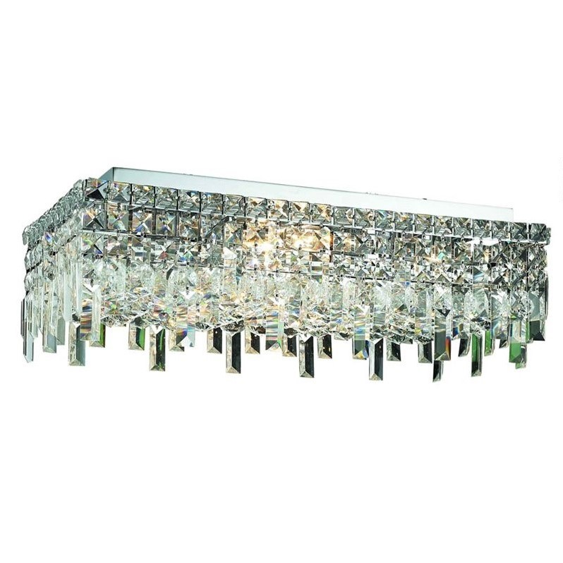 "Elegant Lighting Maxime 12"" 6 Light Spectra Crystal Flush Mount"
