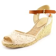 Lauren Ralph Lauren Ciara Women  Open Toe Canvas Ivory Wedge Sandal