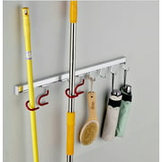 Mop Broom Holder Organizer, Wall Mounted Cleaning Tools Organizer,Space Saver Rags Dusters Rakes Utility Hooks Holder for Kitchen Garage Office