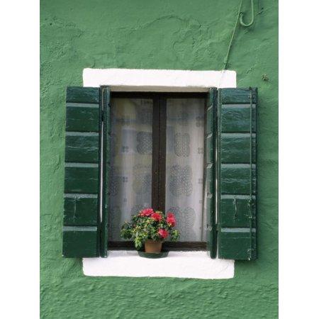 Venice Flower - Flower Pot on Window Sill, Burano, Venice, Veneto, Italy Print Wall Art By Sergio Pitamitz