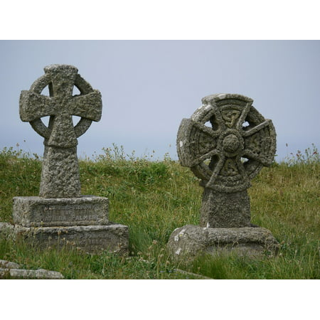 Canvas Print 19 Celtic Cross Roof Century Old Tombstone Moss Stretched Canvas 10 x 14