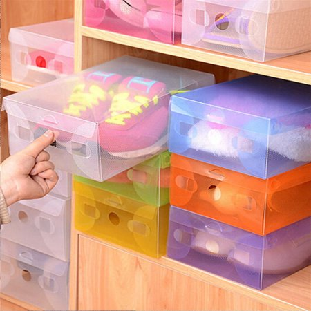 Heepo Candy Color Clear Plastic Shoebox Lady Stackable Shoes Storage Box Drawer Unit