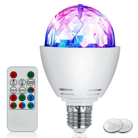 Bonrich Disco Light Bulb LED Party Bulb 3W E27 Rotating Stage Strobe DJ Dance with Remote Control for Bar Karaoke Club (plastic+PC) (Strobe Light Machine)