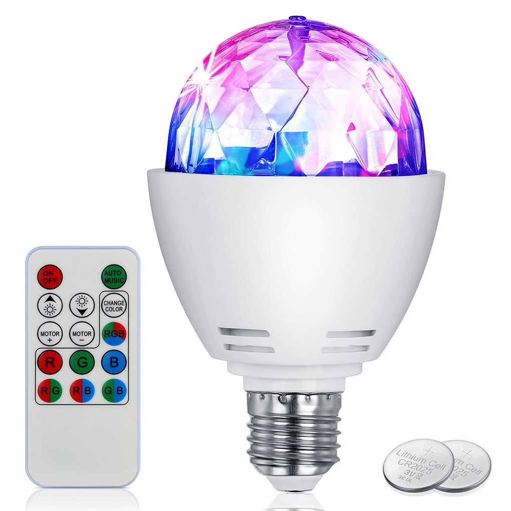 Bonrich Disco Light Bulb LED Party Bulb 3W E27 Rotating Stage Strobe DJ Dance with Remote Control for Bar Karaoke Club (plastic+PC)