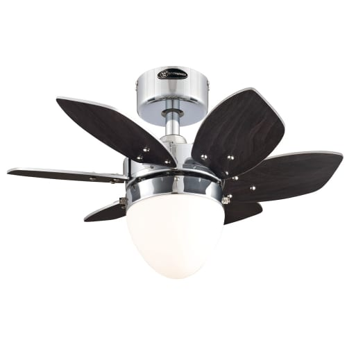 "Westinghouse 7864400 24"" Chrome 6-Blade Reversible Ceiling Fan with Light"