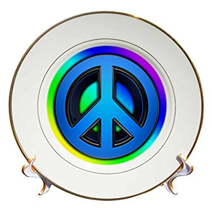 3dRose Peace sign over rainbow background love, Porcelain Plate, - Rainbow Cups And Plates