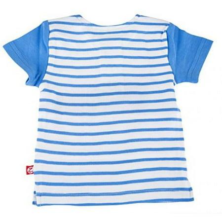 Zutano Baseball Tee- Periwinkle Breton Stripe, 18 (Zutano Bold Stripe)