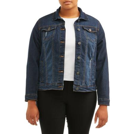 New Look Juniors' Plus Size Distressed Denim Jacket ()