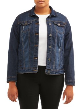 New Look Juniors' Plus Size Distressed Denim Jacket