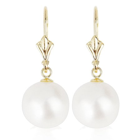14k Yellow Gold Round Pearl Earrings with Freshwater Cultured Pearls (Leverback Pearl Earrings, Pearls Available in 7.0-7.5/8-8.5 and 10-10.5 (13 Mm Cultured Pearl)