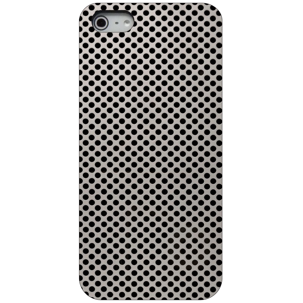 CUSTOM Black Hard Plastic Snap-On Case for Apple iPhone 5 / 5S / SE - Aluminum Holes Pattern