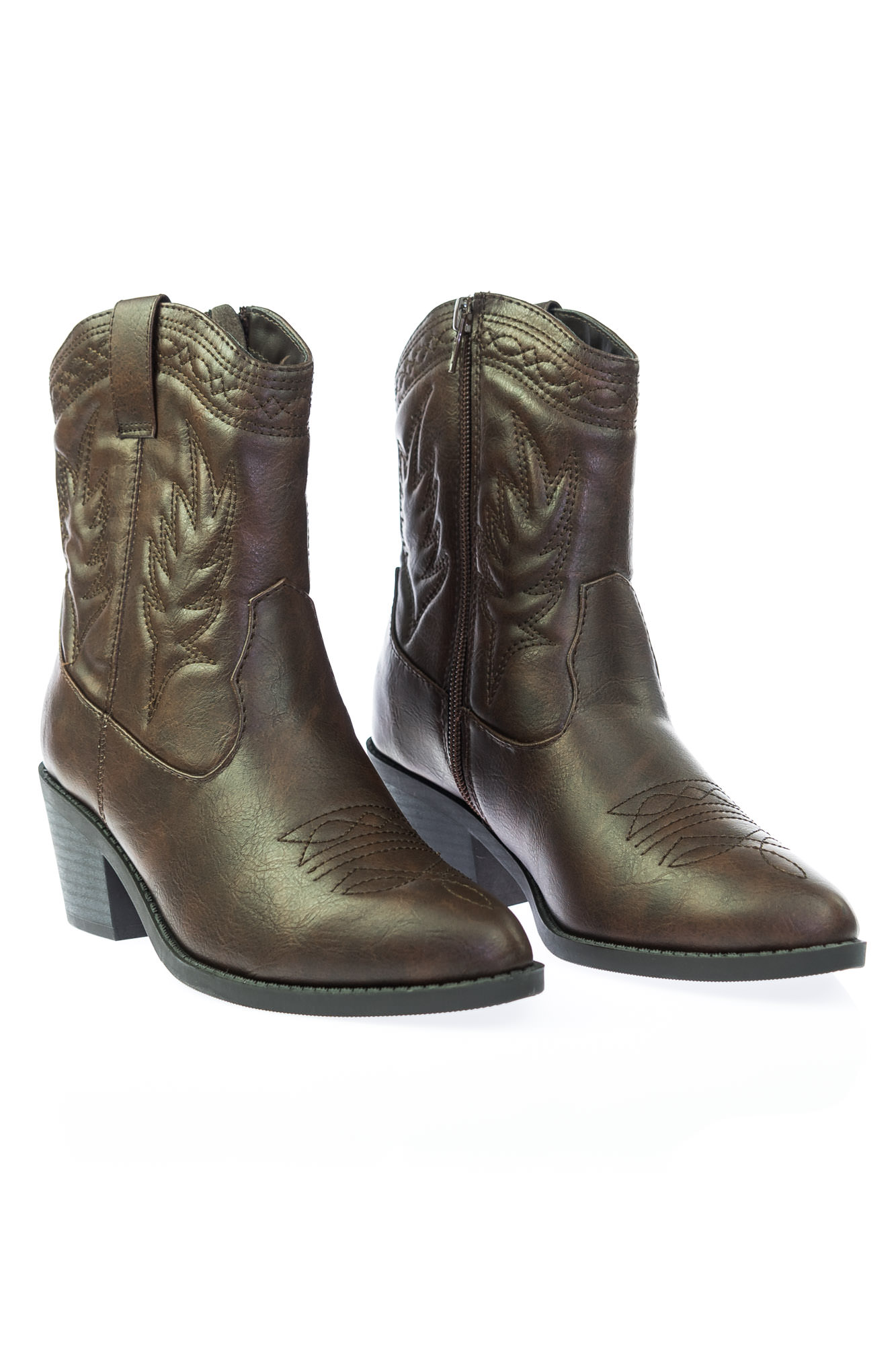 0eed6288457 Picotee by Soda, High Ankle Western Cowboy Boots, Chunky Stack Block Heel &  Stitch Detail