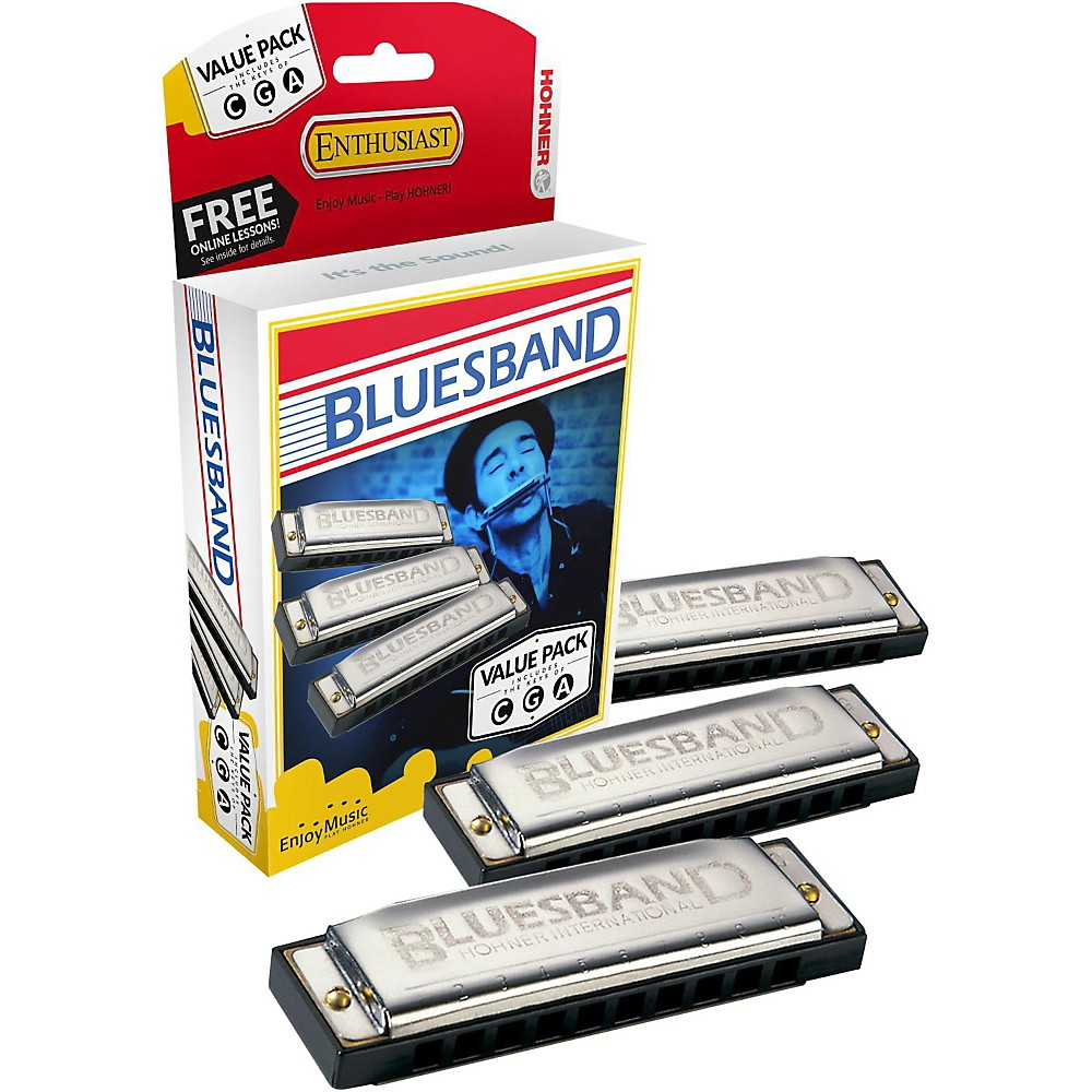 Hohner Blues Band Harmonica, 3-Pack, Keys C, G and A