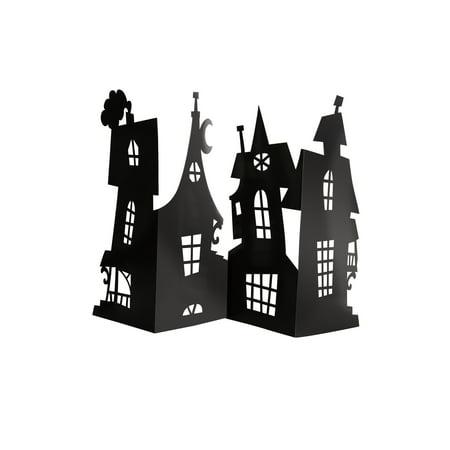 Paper Haunted House Halloween Centerpiece Decoration, Black, 24 x 15in